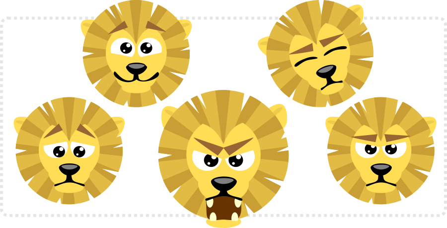 2Dgameartguru - align and distribute - cute lion expressions