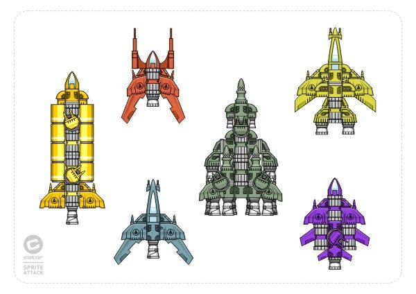 2Dgameartguru spaceship design modular