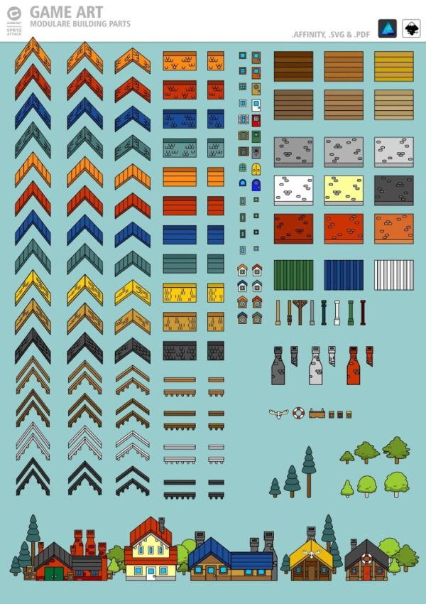 2Dgameartguru Free stylized house elements