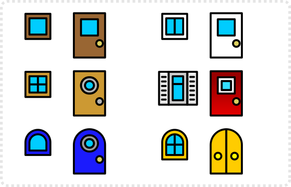 2dgameartguru - simplified building elements doors