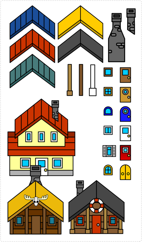 2dgameartguru - simplified building elements parts