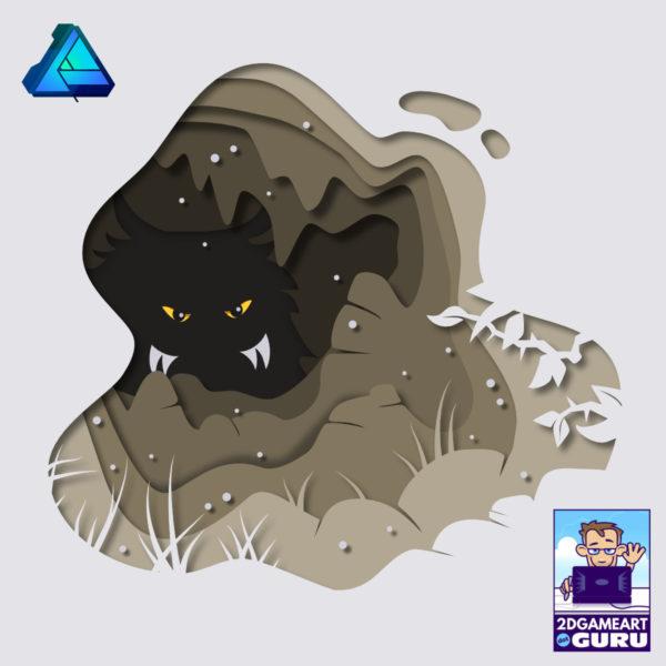 2Dgameartguru paper cutout effect