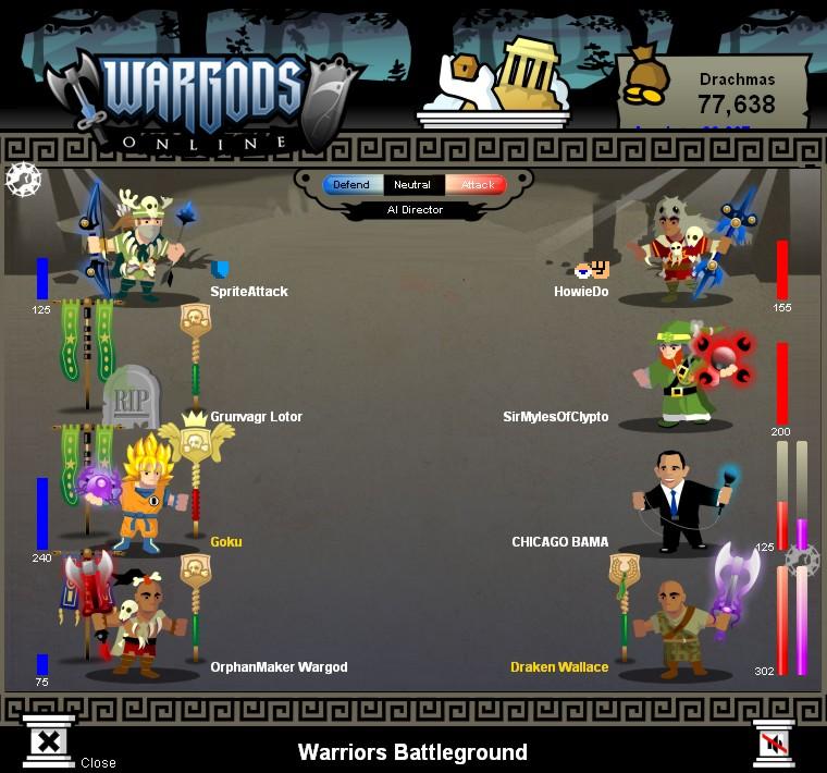 Wargods battle mockup