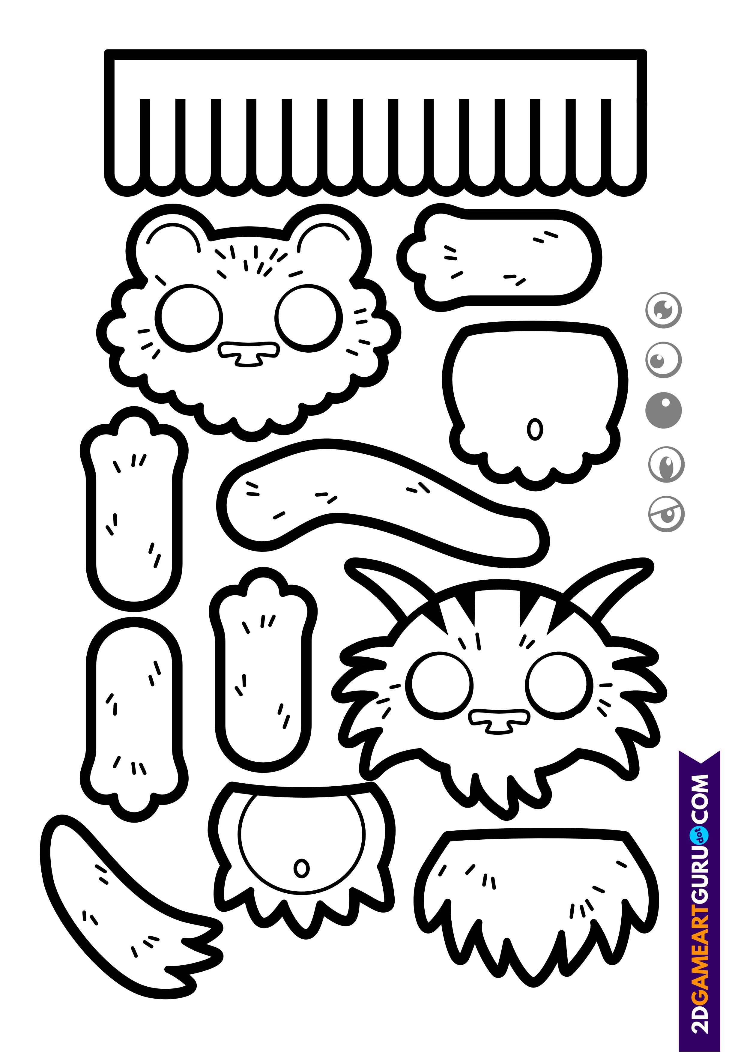 2dgameartguru - craft sheet monsters 1