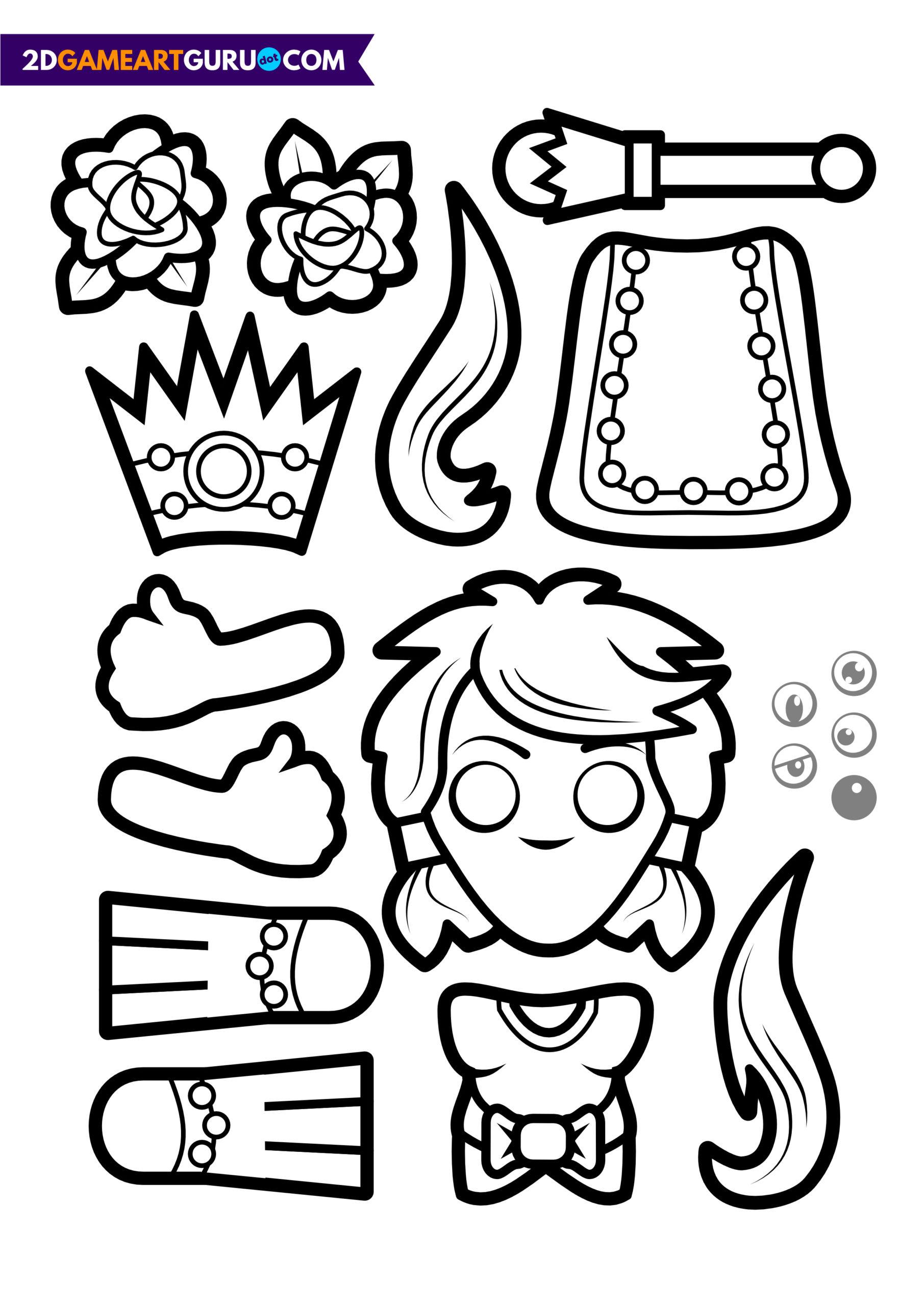 2Dgameartguru - craft sheets princess