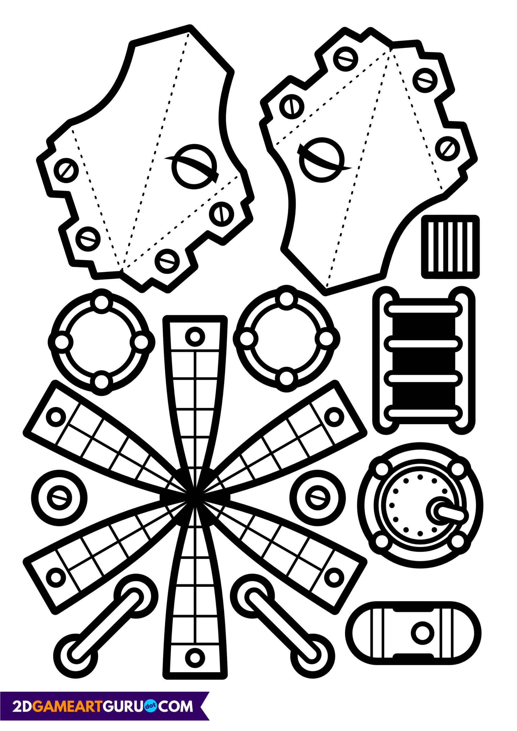 2dgameartguru - craft sheet rocket ship