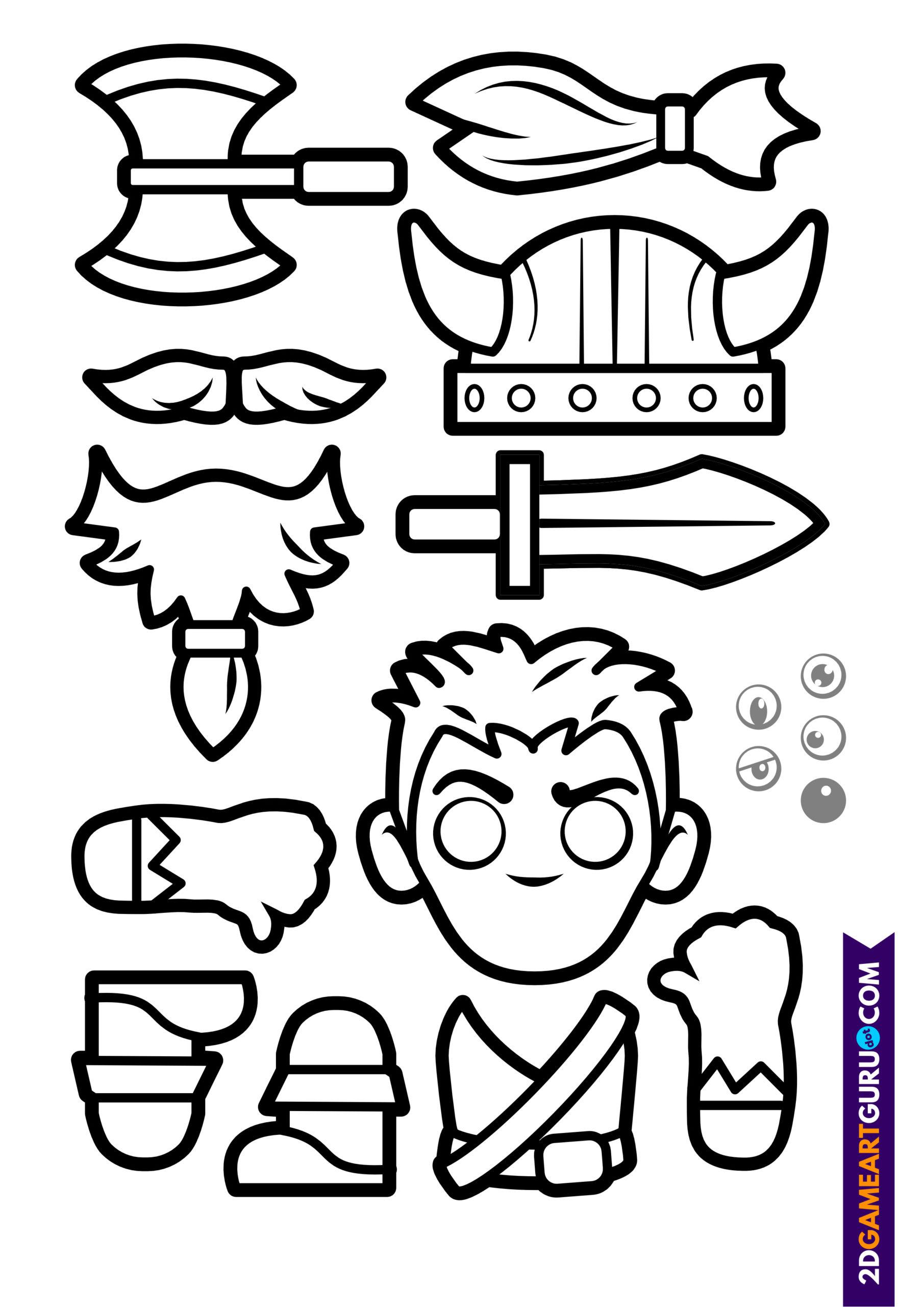 2dgameartguru - craft sheet viking