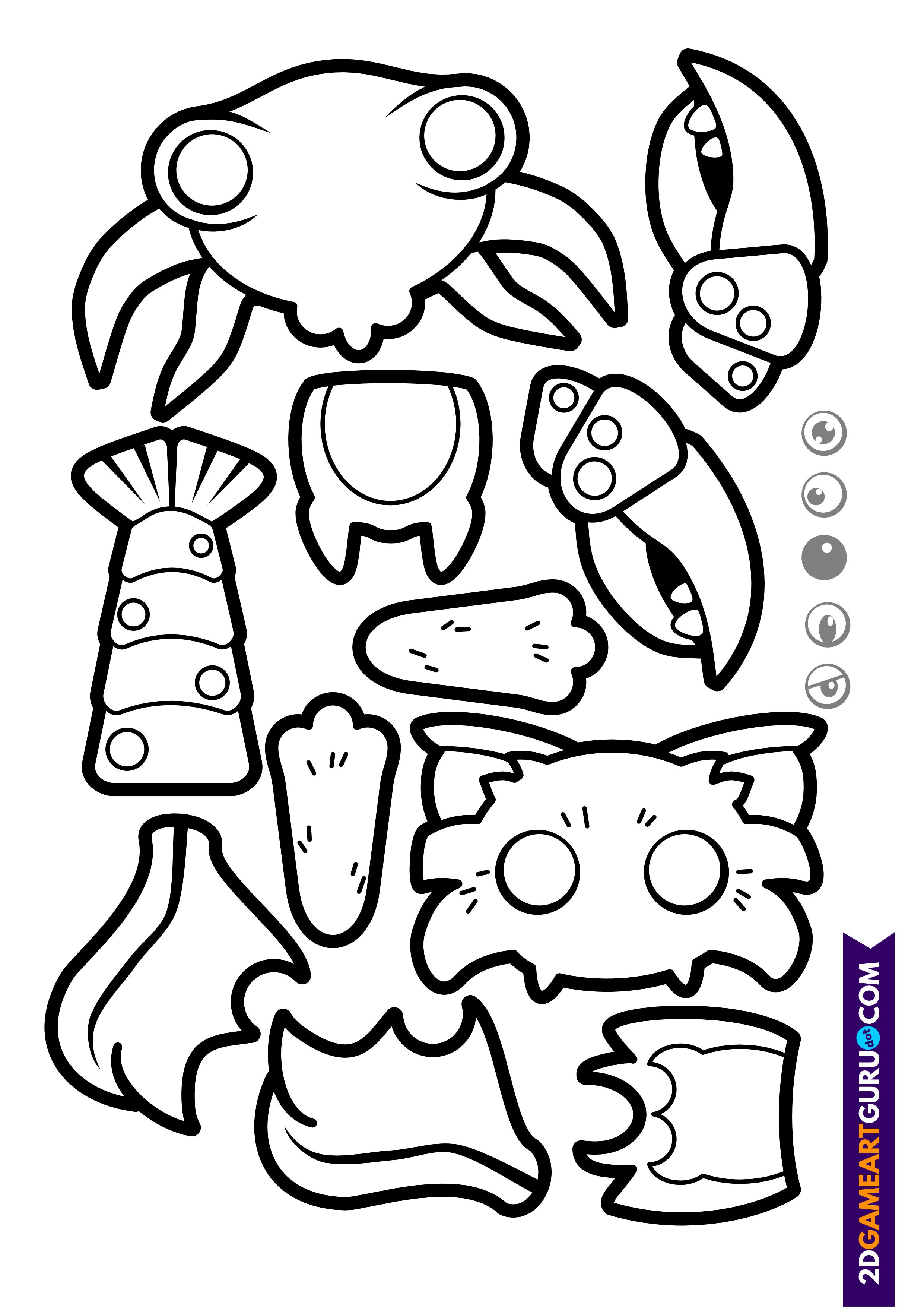 2dgameartguru - craft sheet monsters 3