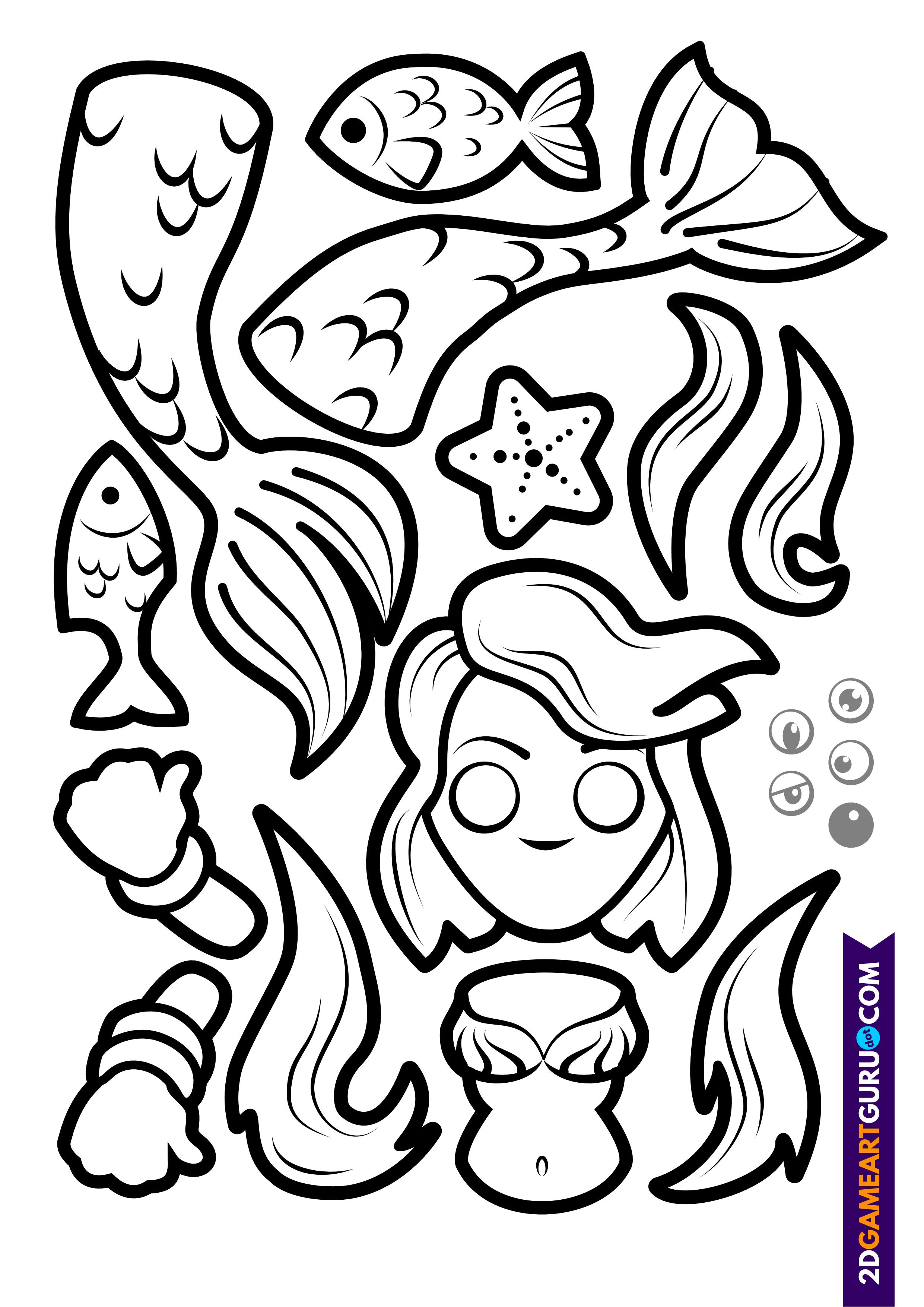 2dgameartguru - craft sheet mermaid
