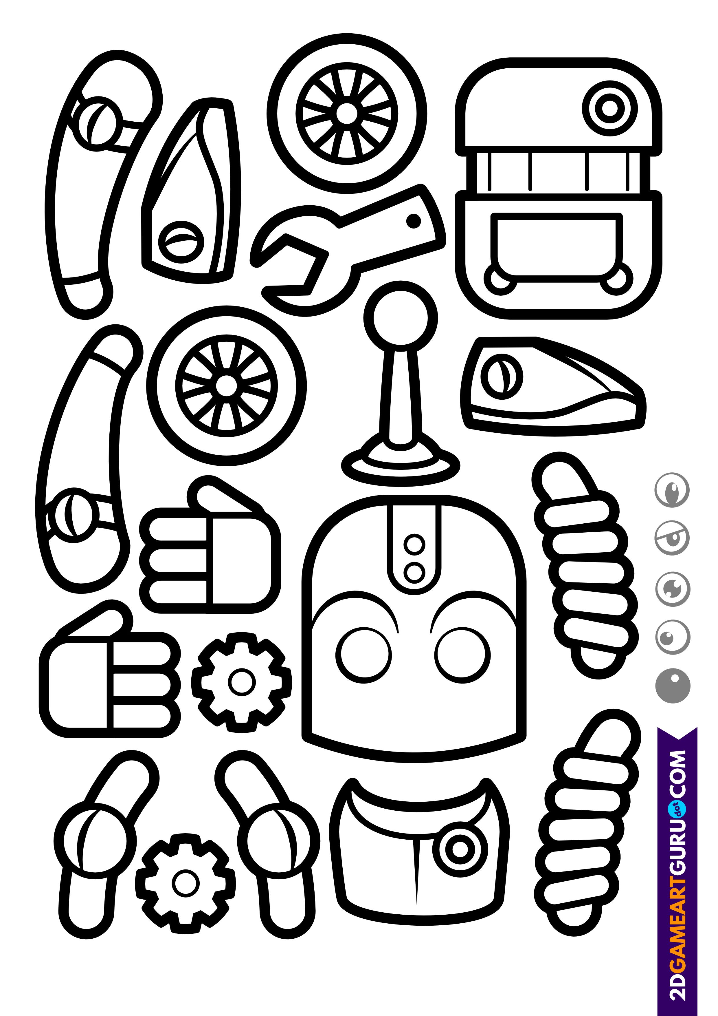 2dgameartguru - craft sheet robot