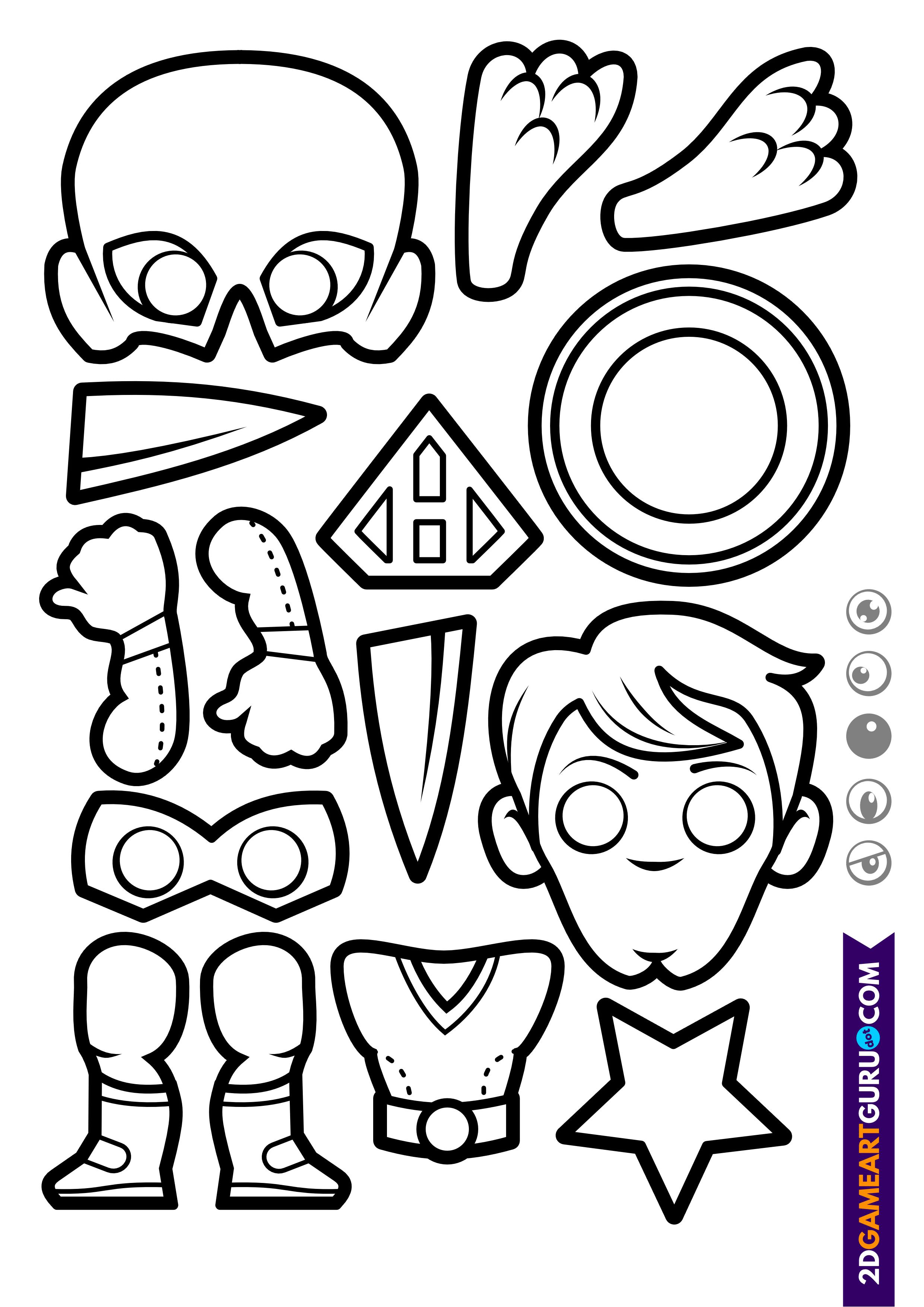 2dgameartguru - craft sheet superhero 2