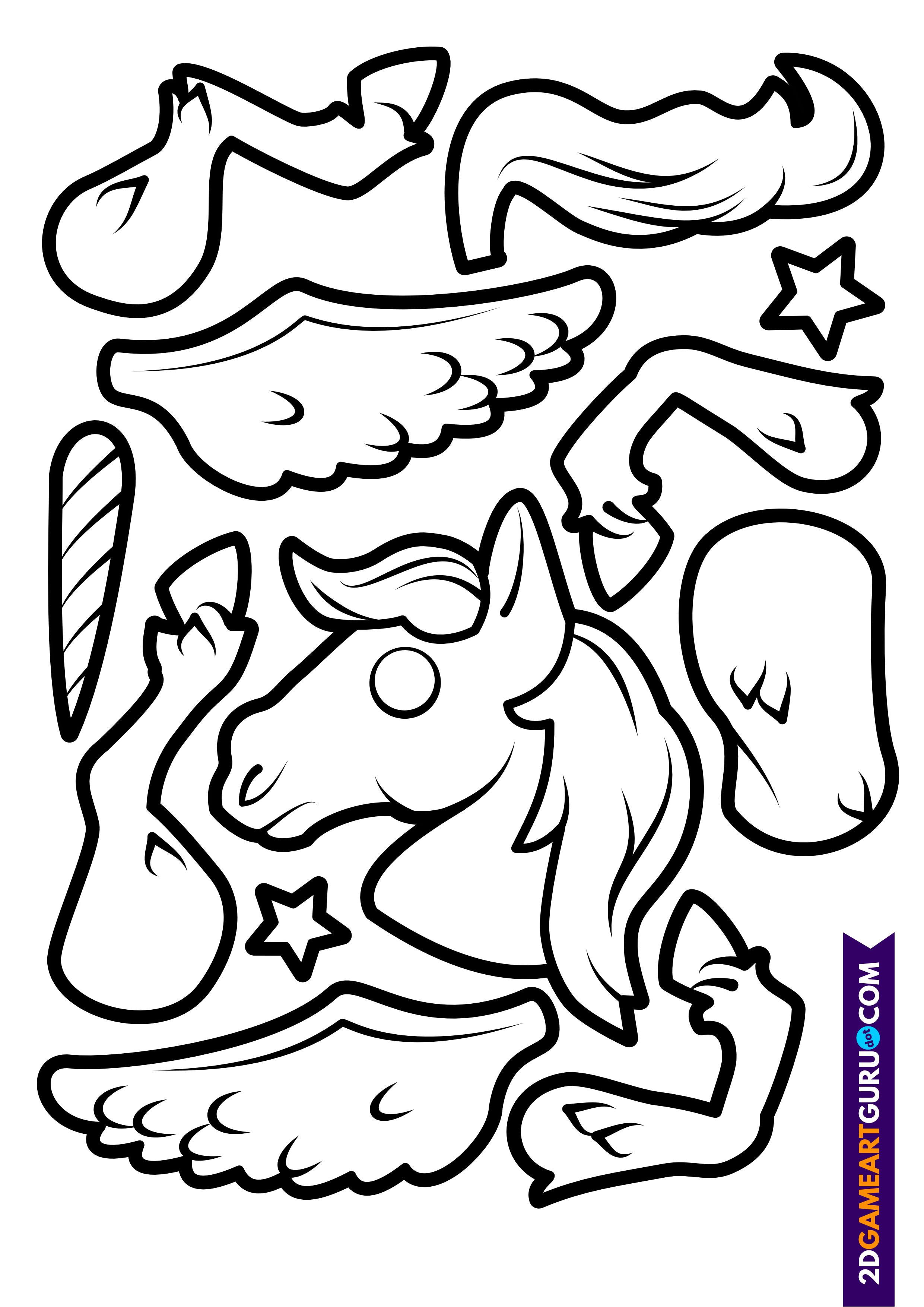 2dgameartguru - craft sheet unicorn