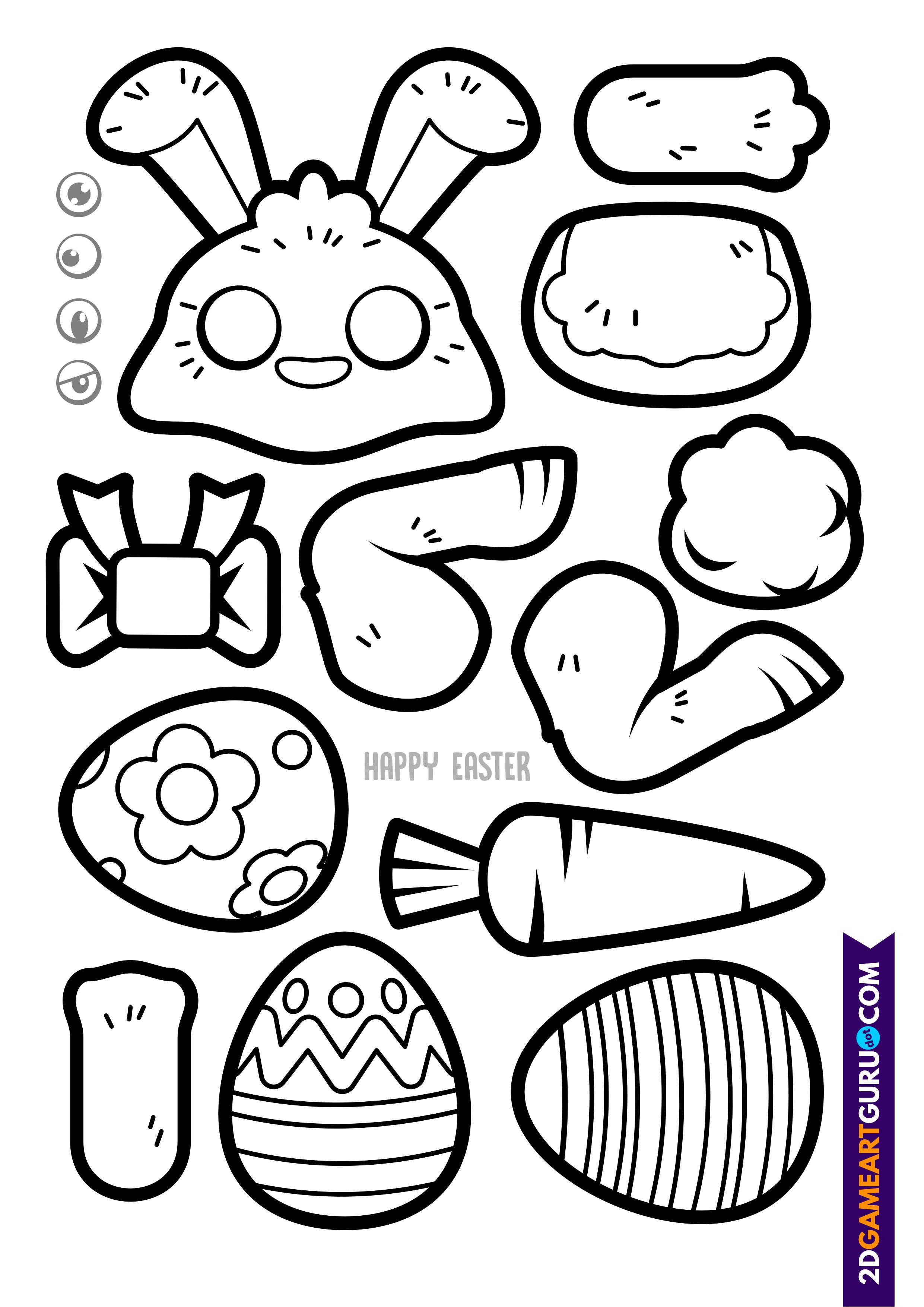 2dgameartguru - craft sheet Easter bunny