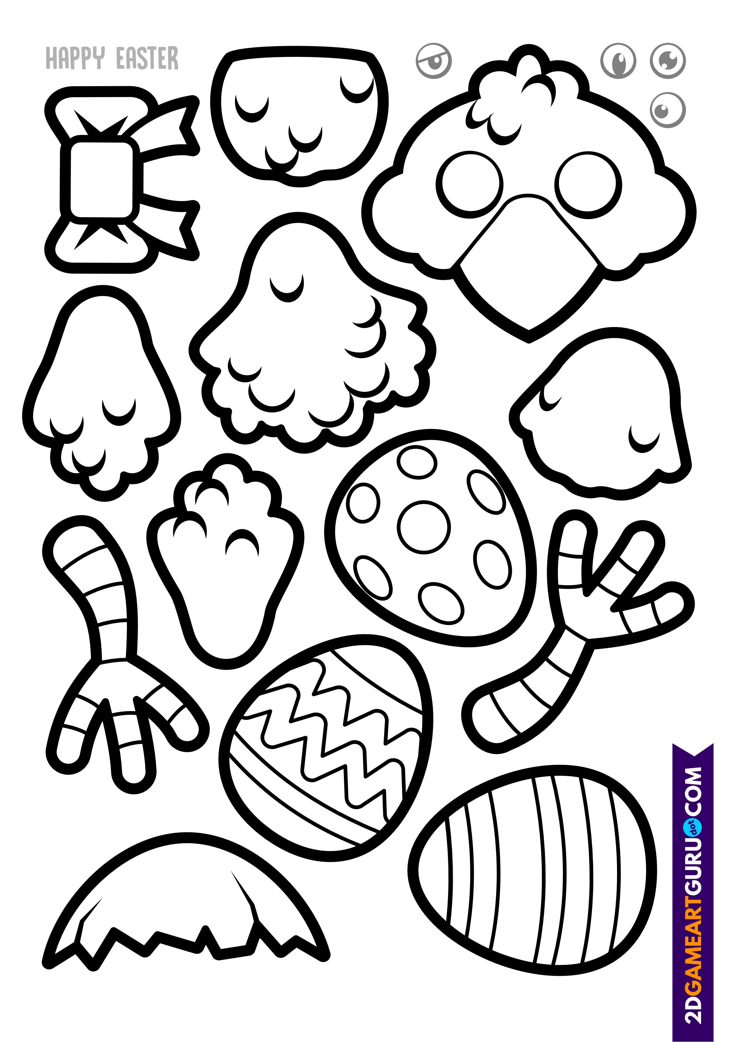 2dgameartguru - craft sheet Easter Chick