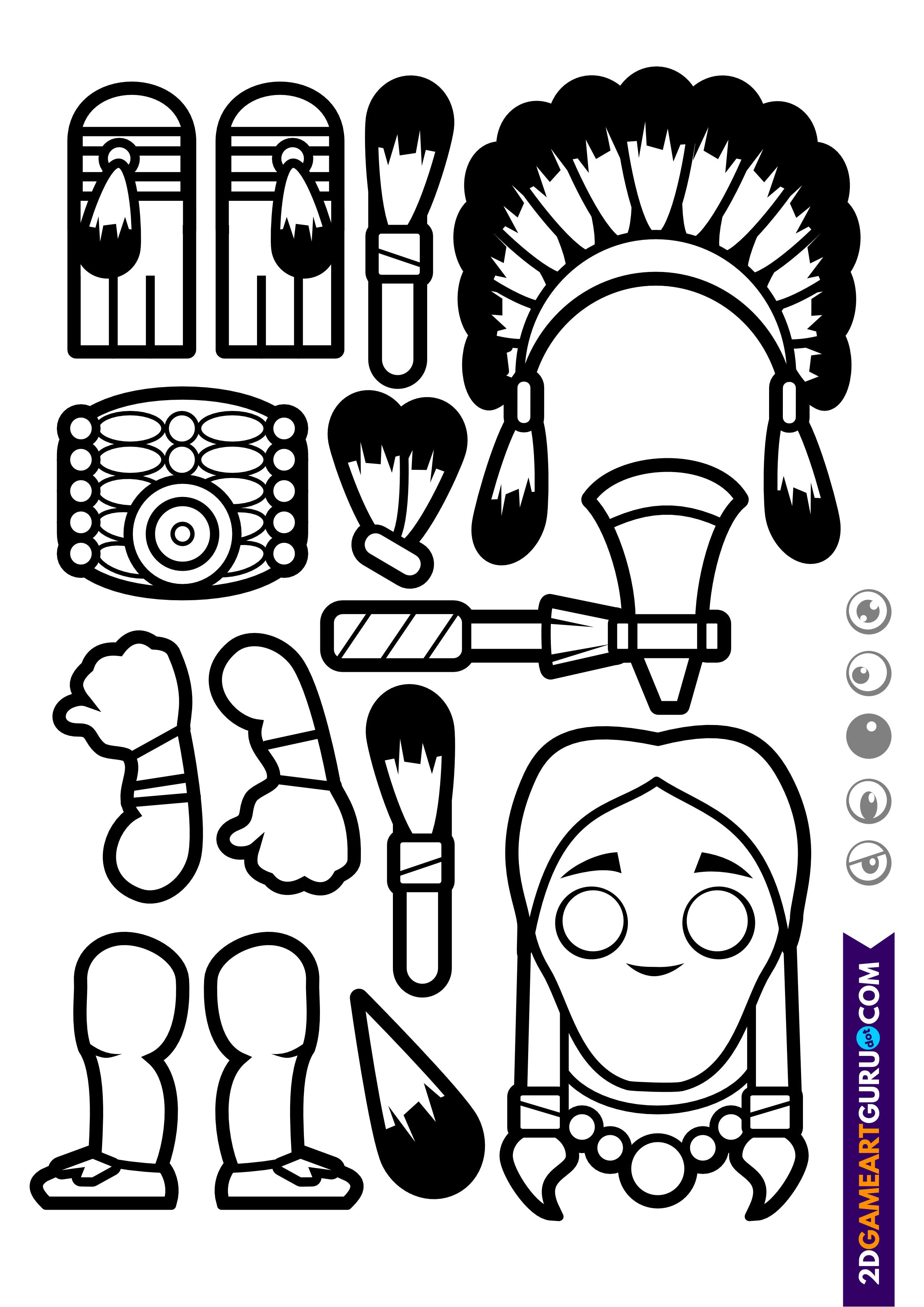 2dgameartguru - craft sheet indian 1