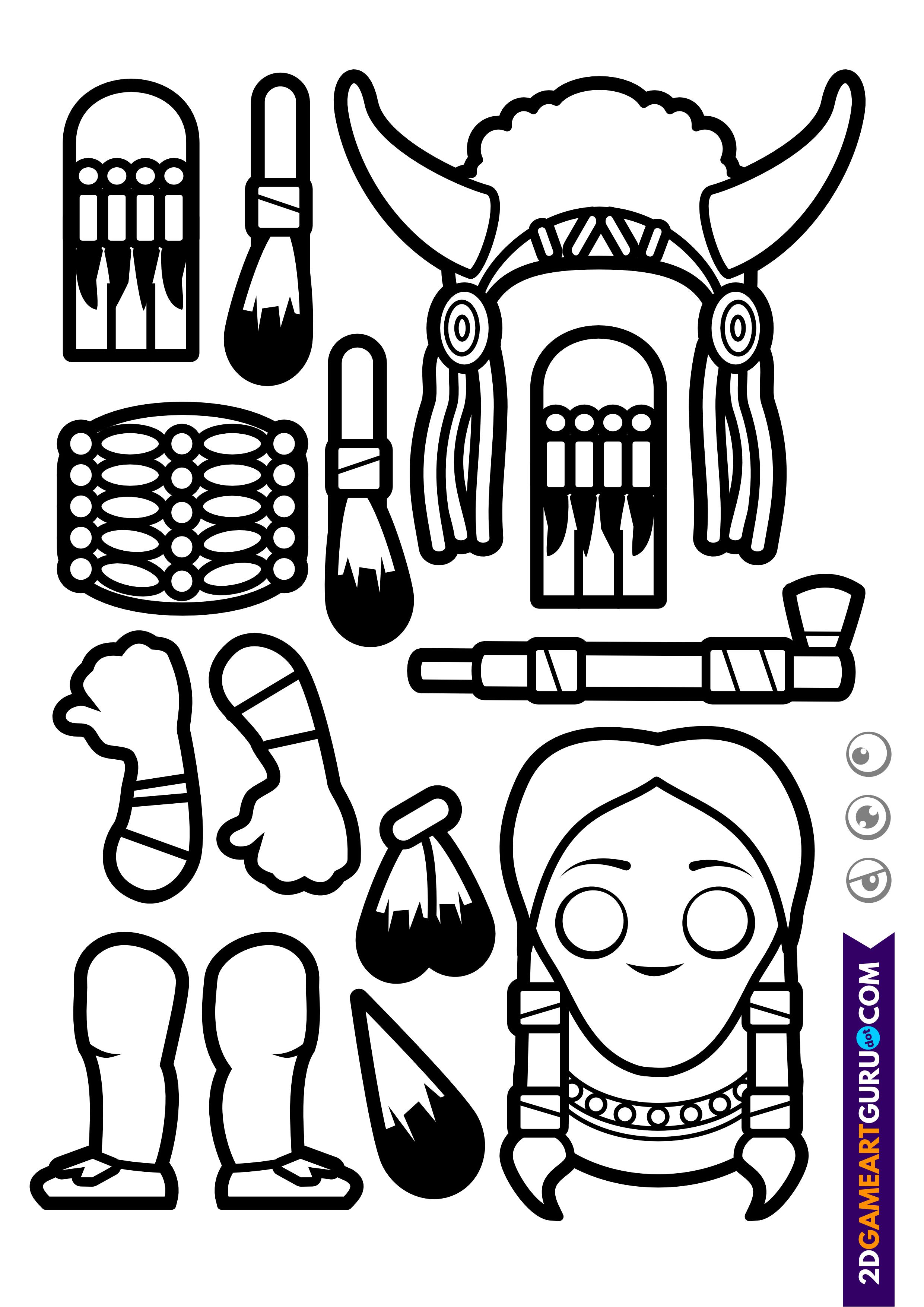 2dgameartguru - craft sheet indian 2