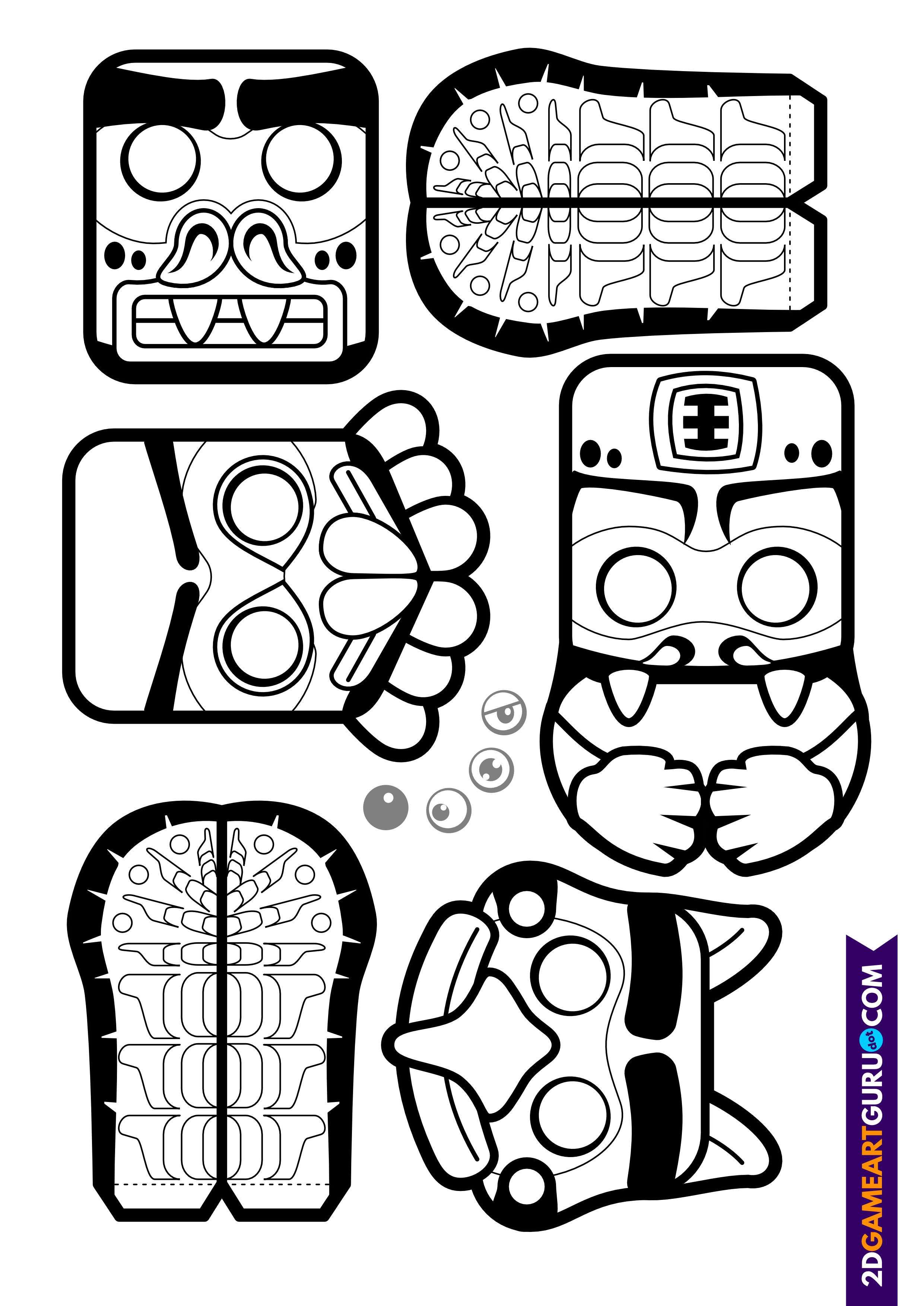 2dgameartguru - craft sheet indian totem pole