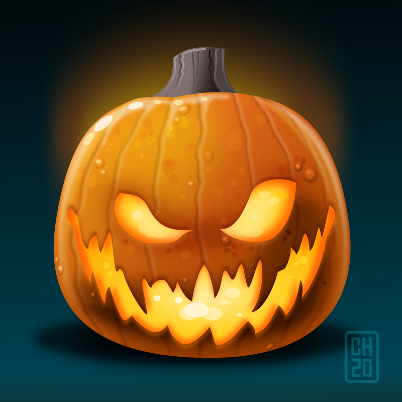 Carved pumpkin illustration in Inkscape