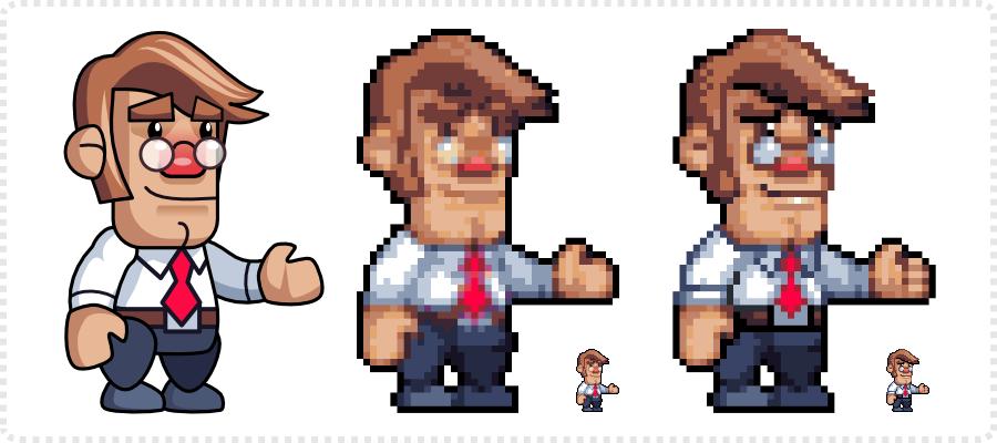 2Dgameartguru - game character from vector to pixel