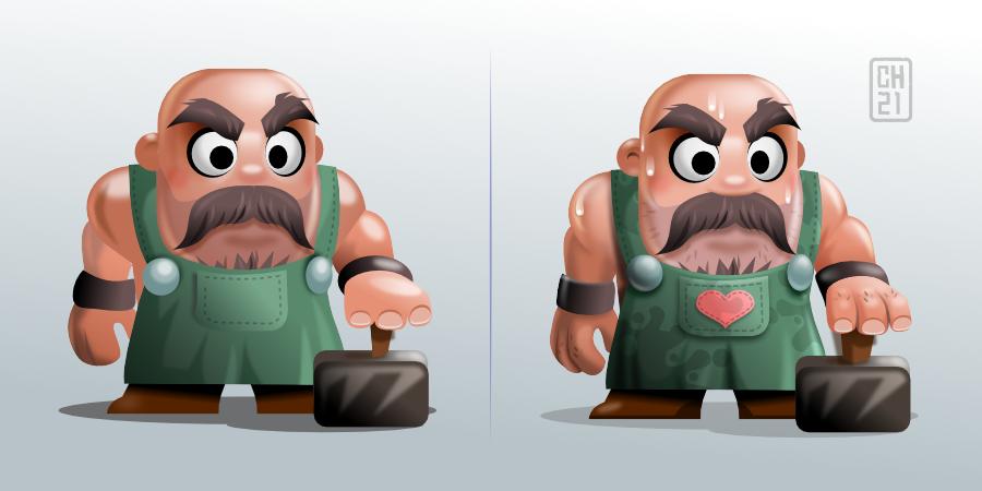 2Dgameartguru - character design concept smithy - compare